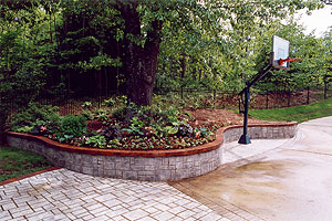 A basketball hoop and a sitting wall that acts as a planter and a retaining wall all in one.