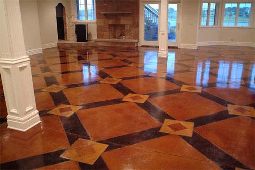 This floor employs two of Butterfield Color's Perma-cast Sierra Stains: Stygian and Cordovan Leather.